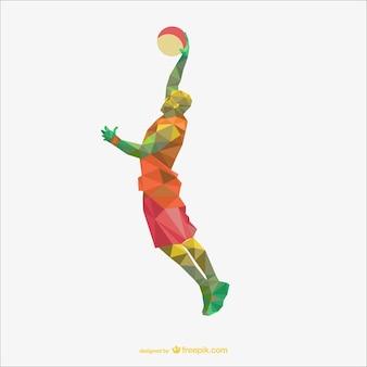 Basketball-spieler polygon zeichnung