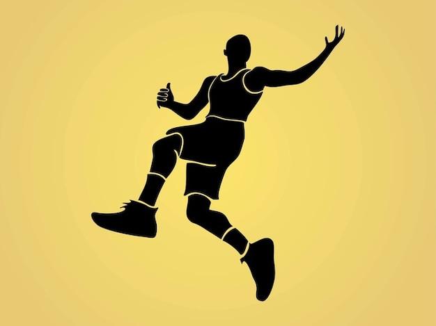 Basketball-spieler springt silhouette