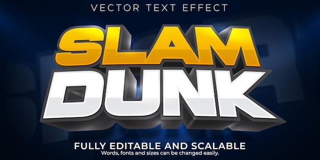 Basketball-sport-texteffekt, bearbeitbarer spiel- und fußball-textstil