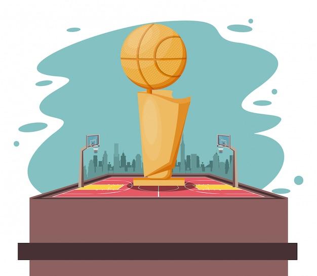 Basketball-sportspiel-landschaftskarikatur