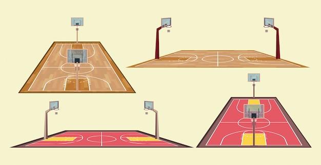 Basketball-sportspielsatz einzelteile