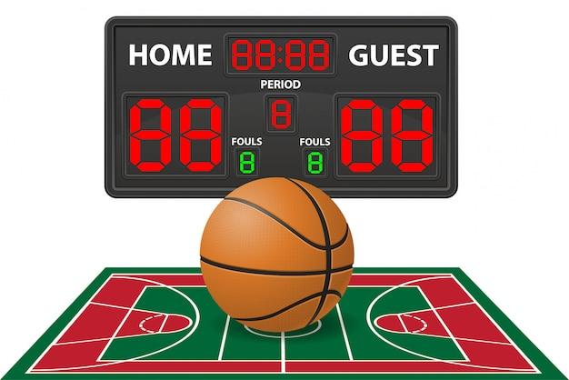Basketball trägt digitale anzeigetafelvektorillustration zur schau