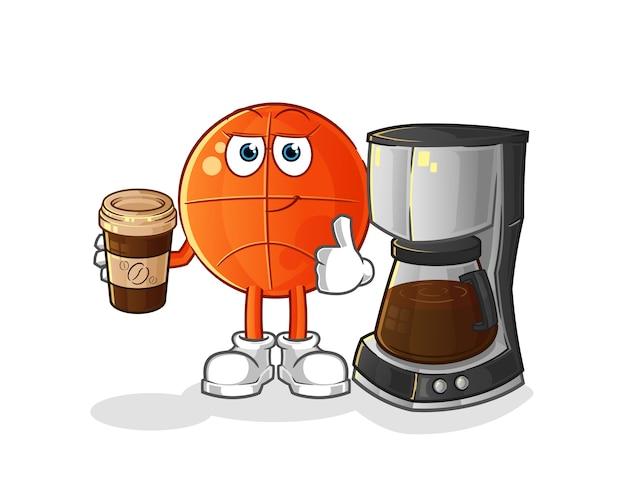 Basketball trinkende kaffeeillustration. charakter
