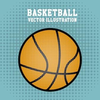 Basketball über punktierter hintergrundvektorillustration
