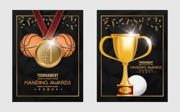 Basketball- und golfsporttrophäe und medaillen