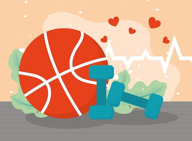 Basketball und herzen
