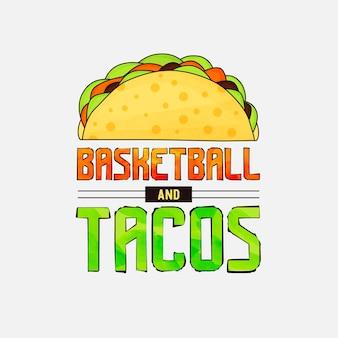 Basketball- und tacos-schriftzug-design für t-shirt-tassenposter und vieles mehr
