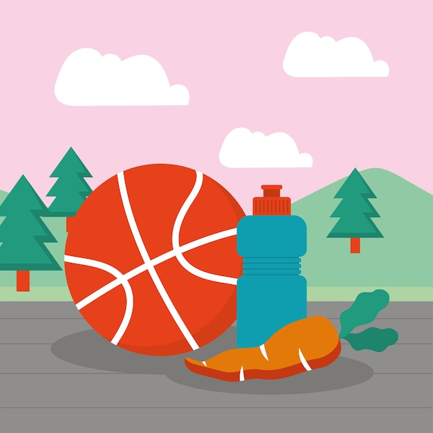 Basketball und wasserflasche