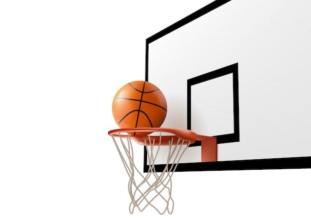 Basketballball, der in ringnetz am rückenbrett fällt