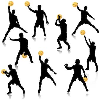 Basketballmann im aktionsschattenbildsatz