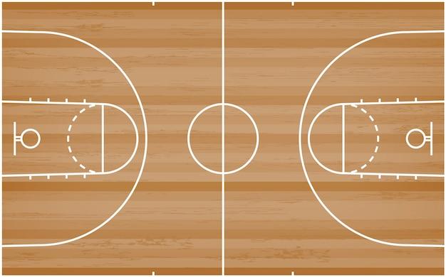 Basketballplatzboden mit linie muster auf hölzernem hintergrund.