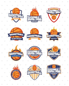 Basketballspiel sport set embleme