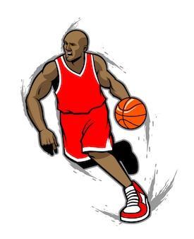Basketballspieler, der den ball tröpfelt