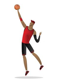 Basketballspieler in der roten schwarzen uniform mit der kugel