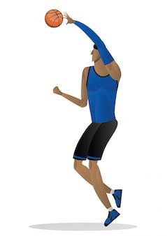 Basketballspieler in der uniform des blauen schwarzen mit der kugel