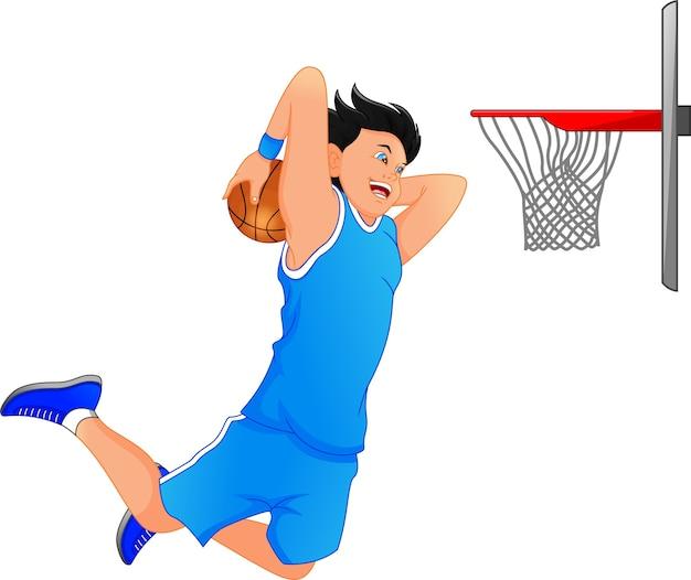 Basketballspieler machen slum dunk