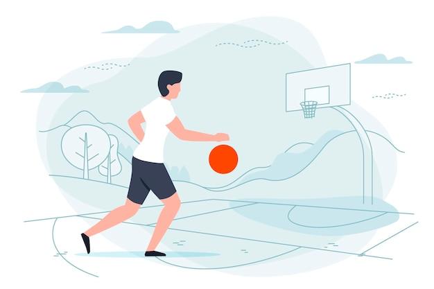 Basketballspieler, mann mit ball auf spielplatz
