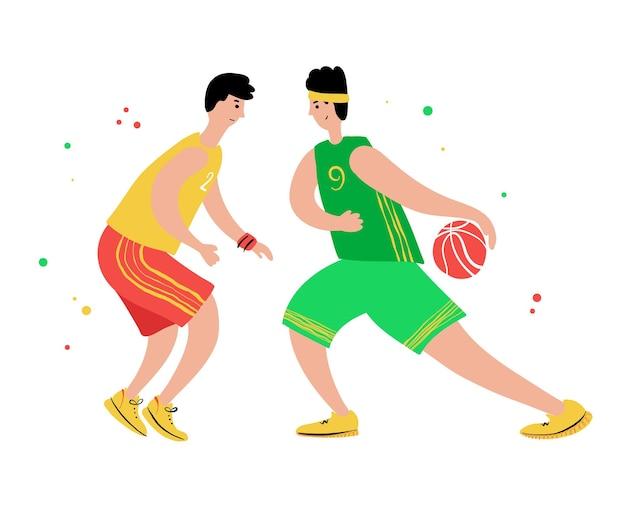 Basketballspieler mit ball. cartoon-action-figur. flacher handgezeichneter vektor. meisterschaft der männer