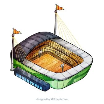 Basketballstadion in der isometrischen art