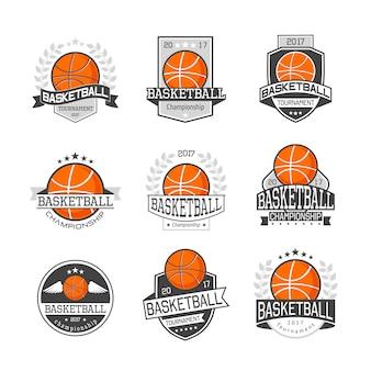 Basketballwettbewerb embleme set