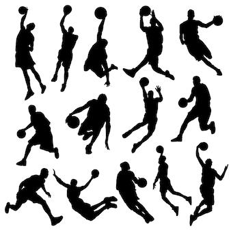 Basquetball-sport-spieler-schattenbild-vektor