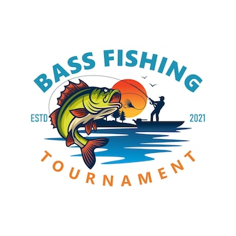 Bass fishing logo isoliert auf weiß