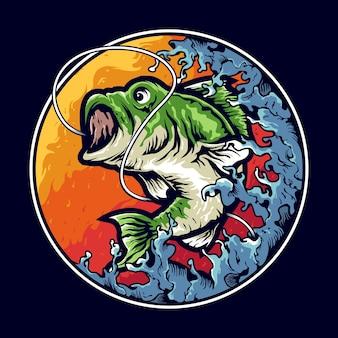 Bassfischen illustration logo design