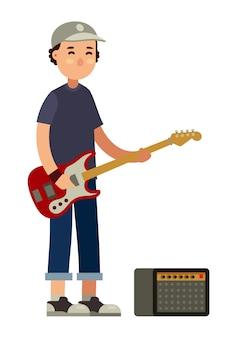 Bassistmusikercharakter in der flachen artvektorillustration