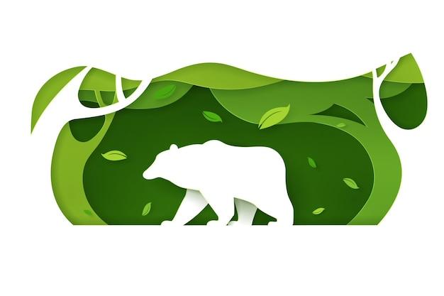 Bastelart des grünen öko-waldes mit bär