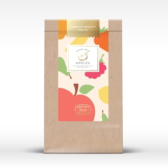 Basteln sie papiertüte mit trockenfrucht-verpackungsmodell