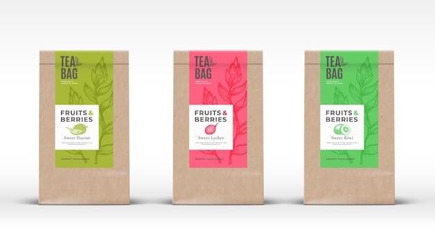 Bastelpapiertüte mit exotischen früchtetee-etiketten stellen abstraktes vektorverpackungsdesign-layout mit reali