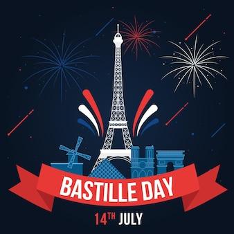 Bastille tag mit eiffelturm und feuerwerk