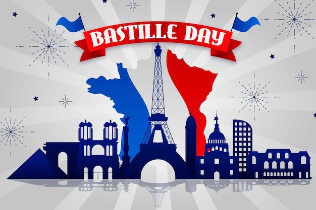 Bastille tag mit karte und flagge
