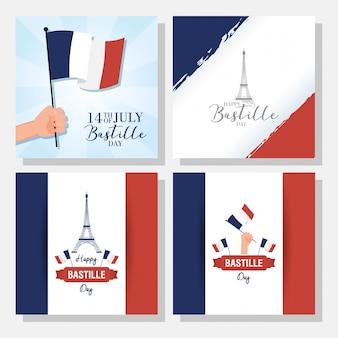 Bastille-tagesfeier mit gesetzten bannern