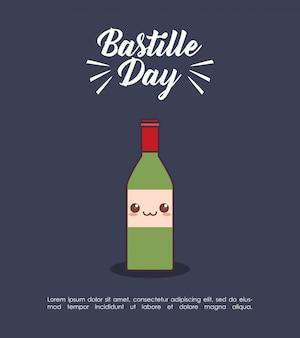 Bastille-tagesfeier mit wein kawaii