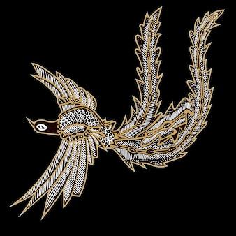 Batik vögel mit schwarzem hintergrund