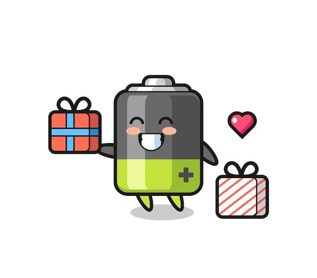 Batterie-maskottchen-cartoon, der das geschenk gibt, niedliches design für t-shirt, aufkleber, logo-element