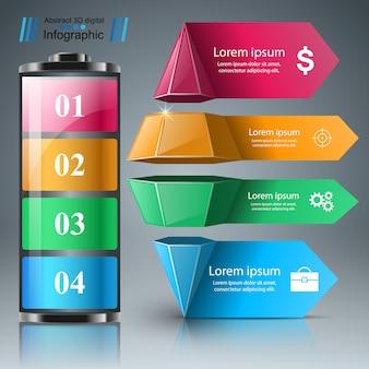 Batterie realistische infografik