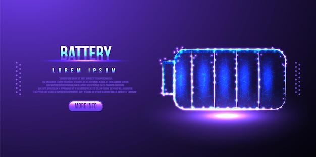 Batterie, stecker, aufladung low poly wireframe mesh aus polygonalem design