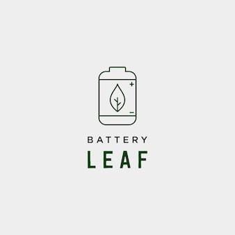 Batterieblatt öko natur energie erneuerbare einfache logo vorlage vektor-illustration - vektor