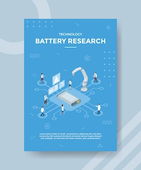 Batterieforschungstechnologiekonzept für vorlagenbanner und flyer mit isometrischem stilvektor