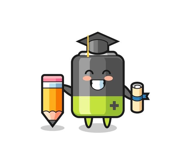 Batterieillustrationskarikatur ist abschluss mit einem riesigen bleistift, niedlichem design für t-shirt, aufkleber, logo-element