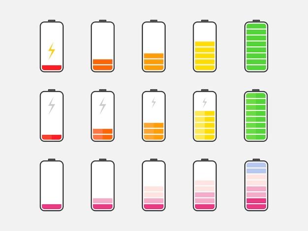 Batterieladeanzeige in flach. batteriesymbole des telefons