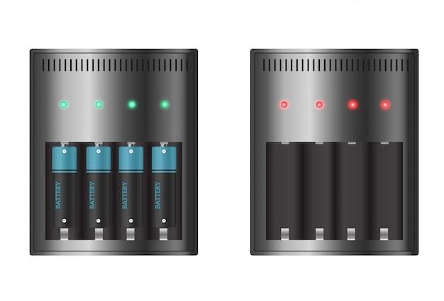Batterieladegerät mit finger niedrigen batterien und anzeigen, hoch isoliert. vektorabbildung.