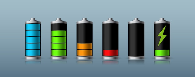 Batterieladestatus isoliert auf dunklem hintergrund. illustration.