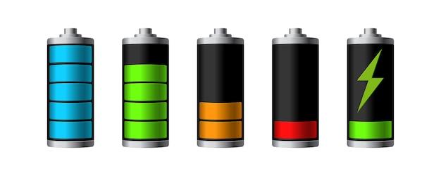 Batterieladestatus isoliert auf weißem hintergrund. illustration.