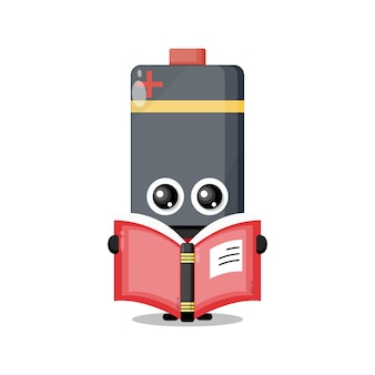Batterielesebuch niedliches charaktermaskottchen