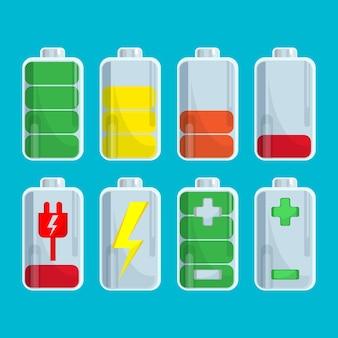 Batteriesammlung mit ladeschritten Premium Vektoren