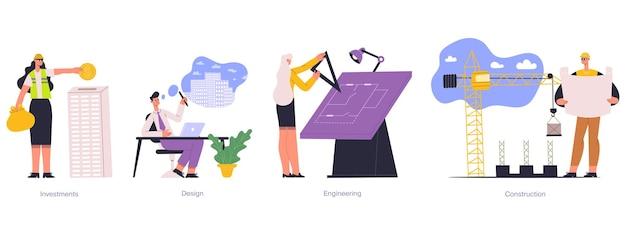Bau-, bau-, immobilienprojektplanungsentwicklung. immobilienverwaltung, ingenieurwesen, investitionen vektor-illustration-set. architektonische projektphasen