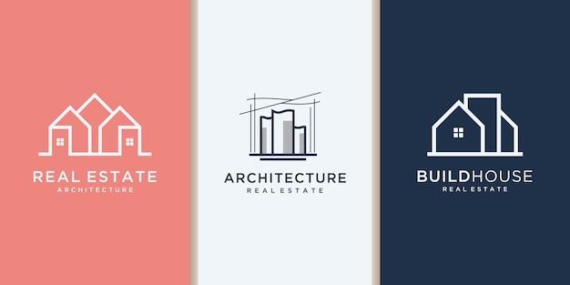 Bau, baumeister, gebäude, goldfarbe, banner und visitenkarte, logo-inspiration